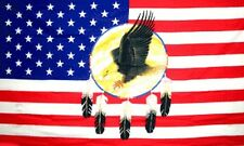 US DREAMCATCHER FLAG 5' x 3' US Eagle and Feathers America Line Dancing