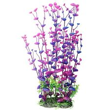 "Aquarium Decor Fish Tank Decoration Ornament Artificial Plastic Plant Purple 16"""