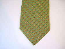 SALVATORE FERRAGAMO Green Kayak Print 100% Silk Men's Tie Authentic,Excellent