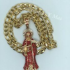 "with 26"" Necklace Holy Death New Red Santa Muerte Gold Plated Pendant"