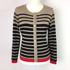 Carolyn Taylor Petite Brown Black Striped Button Cardigan Sweater Top Womens PM