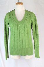 ANN TAYLOR LOFT Sweater MEDIUM Green V Neck Cable Knit Rayon Wool Angora L/S