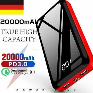 Tragbare Power Bank 20000mAh Batterie Ladegerät Zusatzakku 2USB Charger