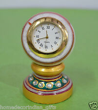 "3"" White Marble Table Clock Natural Stone Hand Painted Jaipur Raga Works H693"