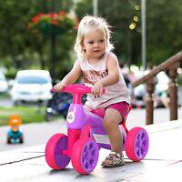 HOMCOM Baby Balance Bike Toddler Safe Training 4 Wheels Storage Bin Violet