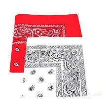 2 X patrón de Paisley Bandana Cabeza / Cuello Bufanda 100% Algodón (rojo Y Blanco)