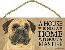 """A House Is Not A Home Without a Bull Mastiff-Wood Plaque/Sign 5"""" x 10"""""""
