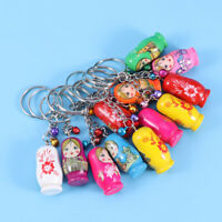 12Pcs Key Chains Keyrings Wood Matryoshka Pendant Russian Dolls Design Key Rings
