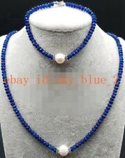 Natural 2x4mm Blue Sapphire Faceted Beads & 9-10mm White Pearl Necklace/Bracelet
