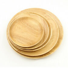 5 pieces Natural Wood Dish Wooden Round Plate Serving Tray Food or Bakery