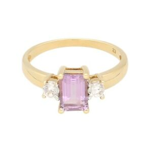 9Carat Yellow Gold Amethyst Solitaire w/ Simulated Diamond Accents Ring (Size O)