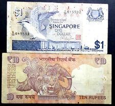 INDIA Ten Rupee & singapore 1 Dollars old note.2pcs (+FREE 1 Banknote) #D2866