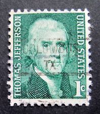 Sc # 1278 ~ 1 cent Thomas Jefferson Issue, Precancel, COLUMBUS TX (ba26)