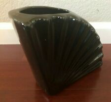 Beautiful Modern Quarter Fan shaped Black Ceramic Flower Vase Pot Planter Decor