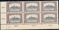 6.2.ITALY,HUNGARY,FIUME,1918 SC.18 MNH CORNER BLOCK OF 6,PARLIAMENT,LIGHT CREASE