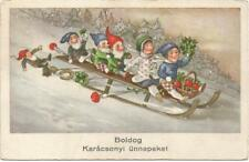 Gnomes on a Big Sled with Children, Christmas, Funny Old Postcard
