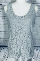 Ann Taylor Women's Medium Tank Top Light Grey Lace Overlay U Neck
