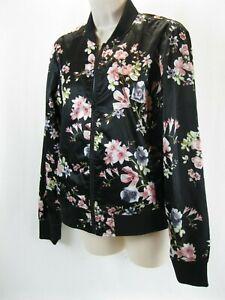 NWOT  Floral Print  Black Silky Bomber Jacket SIZE Med City Streets