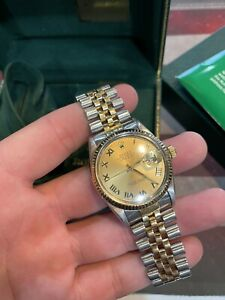 ROLEX DATEJUST 16013 36mm 1988 Two-tone Champagne Mens Watch w/ Box & Papers