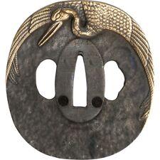 John Lee gru tsuba pezzo di completamento foglio CHIAVE MANIGLIA spada Katana