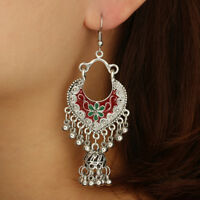Trendy Bohemian Women Flower Bells Tassel Enamel Hook Earrings Party Jewelry Con
