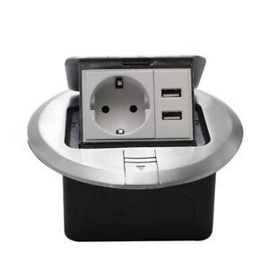 EU Standard Round Pop Up Floor Socket + USB Aluminum Electrical Outlet 2 Way