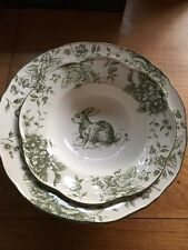 Maxcera Green & White Toile Country French Small Serving Bowl Rabbit Easter New!