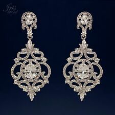 White Gold Plated Cubic Zirconia CZ Wedding Bridal Drop Dangle earrings 0703 New