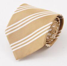 """New E.MARINELLA NAPOLI Mustard Tan-White Repp Stripe 3.5"""" Silk Tie"""