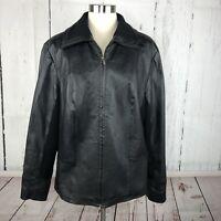 CWC Coldwater Creek JACKET Blazer Jacket XXL Leather Black Moto Wool Knit