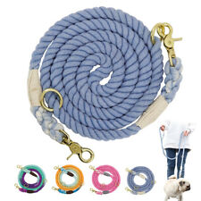 Braid Walking Lead Dog Hands Free Lead Double 2 Dogs Lead Adjustable Cotton Rope