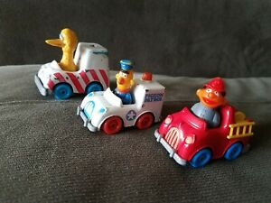 Hasbro,1981,1983 Sesame Street Diecast Vehicles W Burt, Ernie & Big Bird
