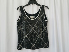 Vinatge A.J. BARI Beaded Sequin formal black & white blouse tank top size L