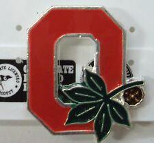NCAA OSU Ohio State University Buckeyes Lapel Pin With Buckeye Nut Silver Pl NEW