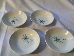 "Set of 4 Salem Hopscotch Hop Scotch Turquoise 5 1/2"" Fruit Bowls Free Form"