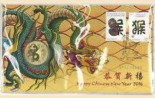 Australia 2016 Chinese New Year of Monkey PNC Stamp & $1 UNC Dragon Coin Cover