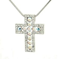 "Cross Made With Swarovski Crystal AB Lord God Jesus Christ Pendant 18"" Chain"