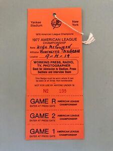 1977 ALCS Yankees v. Royals GM 1, 2 Ticket Pass Full Near Mint Thurman Munson HR