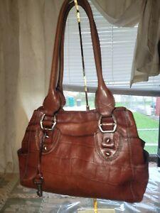 Vintage Fossil Genuine Leather Shoulder Bag Purse Croc Pattern Red