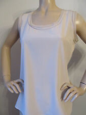 NEW ST JOHN KNIT WOMENS SHELL TOP  BLOUSE SIZE 12 SILK SPANDEX BEIGE PORCELAIN