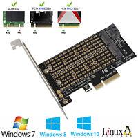 M.2 NGFF to Computer PCIe x4 x8 x16 NVMe SATA Dual SSD PCI Express Adapter Card