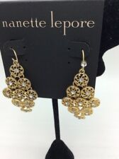 $38 Nannette Lepore gold tone Chandelier crystal earrings HA 23