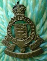 Royal Army Ordnance Corps Cap Badge KC BRASS Slider missing ANTIQUE Original