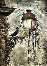 REPRINT PICTURE of print HALLOWEEN CROWS sitting on lamp stormy sky 5x7