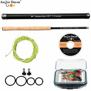 12FT Telescopic Fishing Pole Carbon Fiber Tenkara Fly Fishing Rod Combo