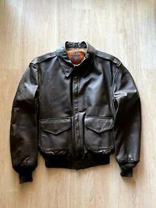 Vintage Cooper Type A-2 Bomber Flight Leather Jacket Size 42R Black