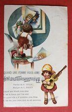 CPA. Illustrateur BERTIGLIA. Enfants. Guitare. Quand une Femme vous Aime.