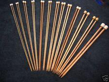 """15 Size Set Bamboo Knitting Needles Sp 9"""" Us 0-15"""