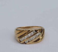 Mens Diagonal Diamond Cluster Ring w/ 10 Genuine White Dia. - 14k Yellow Gold
