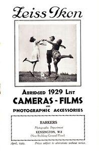 Zeiss Ikon Camera Catalogue 1929 - for British Market